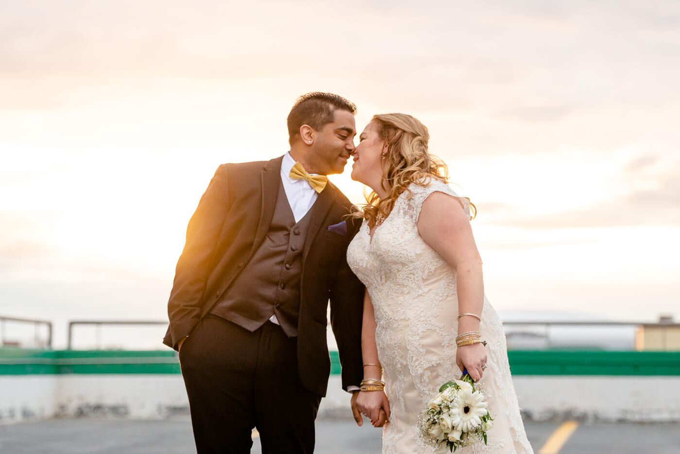 Nishant & Corrina - Bride & Groom on top of Cornwall Parkade in Regina