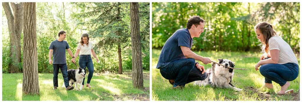 Regina Engagement Photographer - Adam - Sarah - Natural Light Engagement Session in Wascana Park - Couple plays with their dog