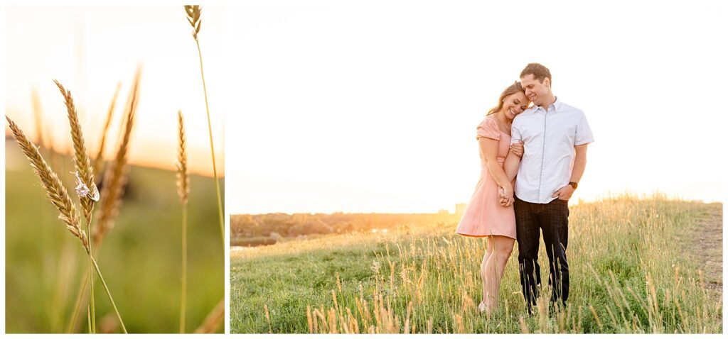 Regina Engagement Photographer - Adam - Sarah - Natural Light Engagement Session in Wascana Park - Couple stand in the sunset glow atop Douglas Park Hill