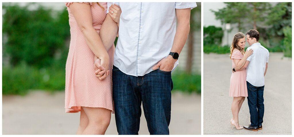 Regina Engagement Photographers - Adam - Sarah - Natural Light Engagement Session in Wascana Park - Blush dress - White dress shirt and jeans