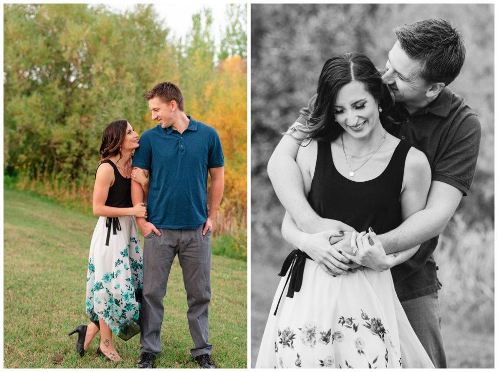 Regina Engagement Photography - Taylor & Jolene - 003 - White City Engagement Session - Couple cuddling and laughing
