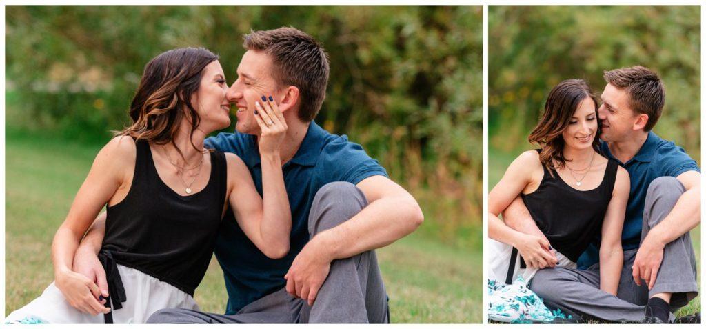 Regina Engagement Photography - Taylor & Jolene - 004 - White City Engagement Session - Sitting and kissing
