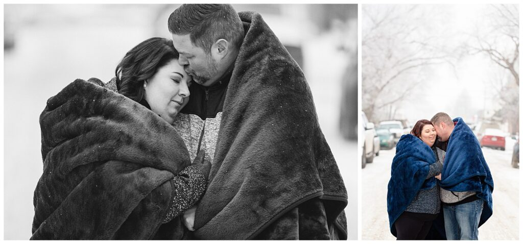 Regina Couple Photography - Ashley - Scott - Couple snuggle to keep warm under blue fuzzy blanket in the snow