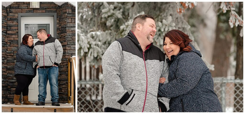 Regina Family Photographer - Ashley - Scott - Couple share a laugh in their front yard in the snow