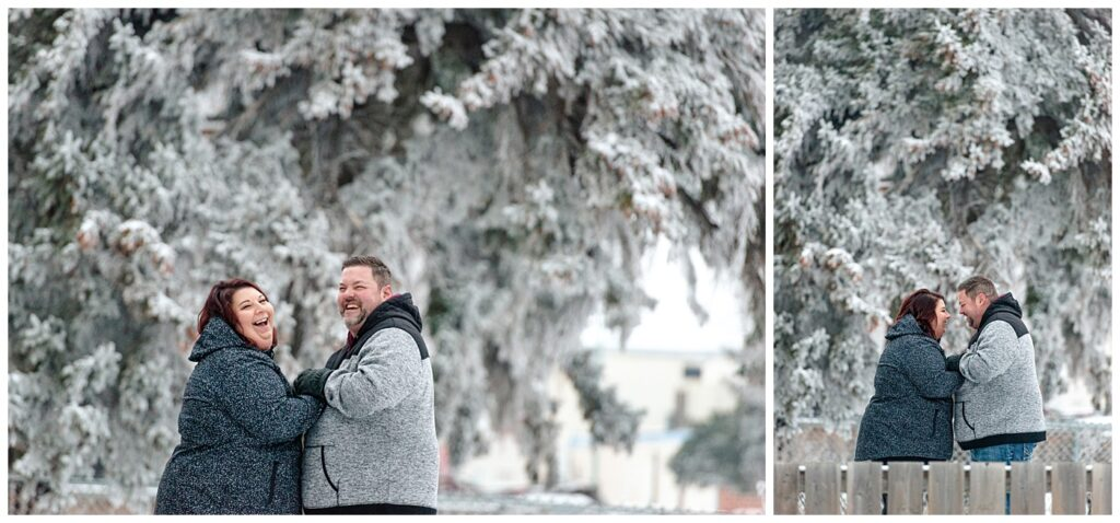 Regina Family Photographers - Ashley - Scott - Couple share a laugh in their front yard in the snow