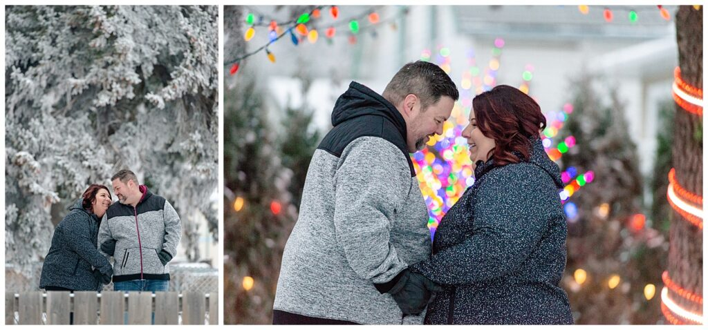 Regina Family Photographers - Ashley - Scott - Couple share a laugh under the Christmas lights