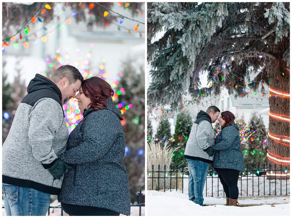Regina Family Photographers - Ashley - Scott - Couple stands under Christmas lights