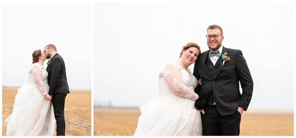 Regina Wedding Photographer - Kolton - Maxine - Bride & Groom share a kiss in a harvested wheat field