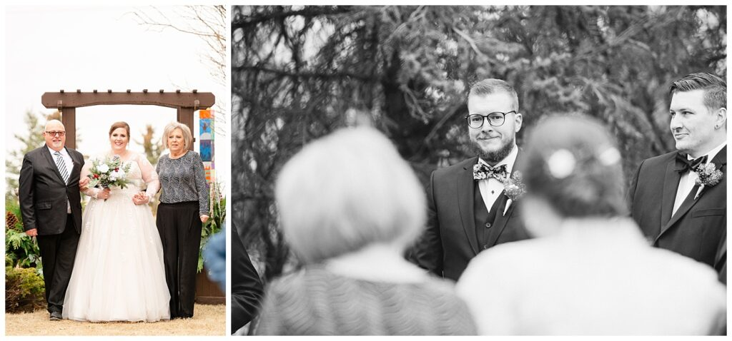 Regina Wedding Photographer - Kolton - Maxine - Bride walks down the aisle with her parents