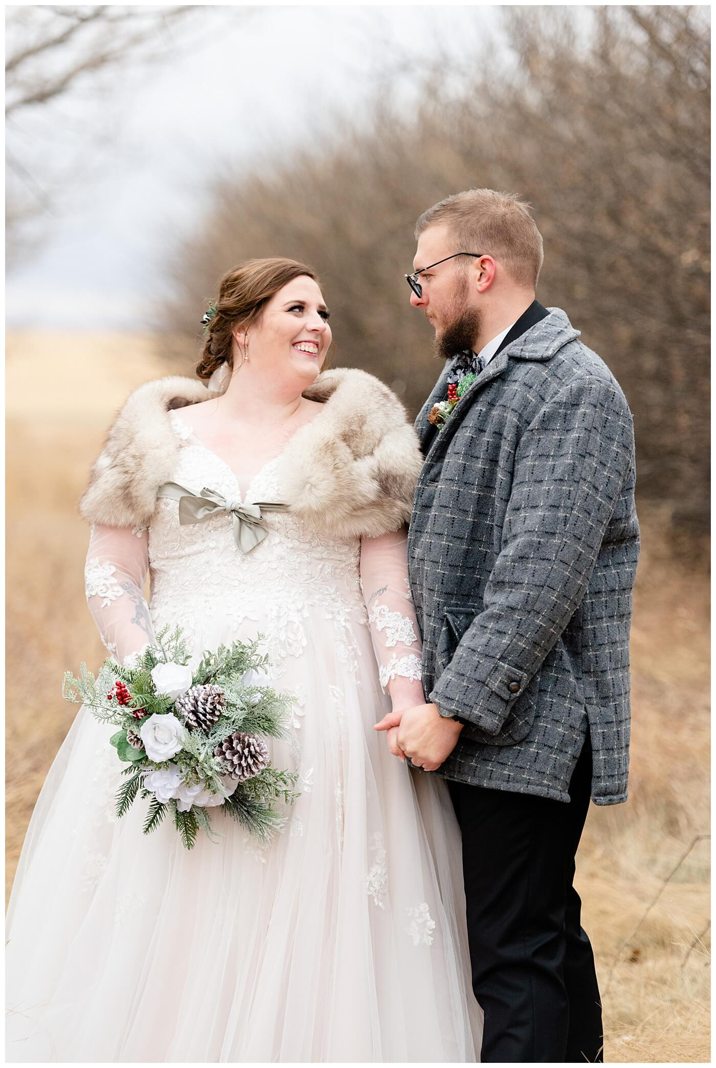 Regina Wedding Photographer - Kolton - Maxine - Bride wears vintage fur stole on her wintery wedding day