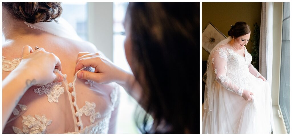 Regina Wedding Photographer - Kolton - Maxine - Buttoning Stella York lace gown on bride - Bride admires her gown