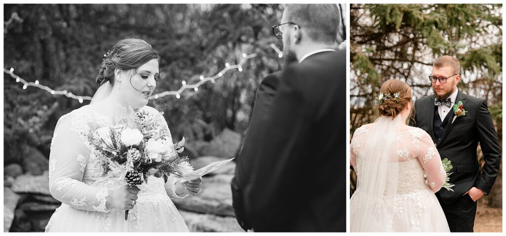 Regina Wedding Photographer - Kolton - Maxine - Couple makes their vows to one another