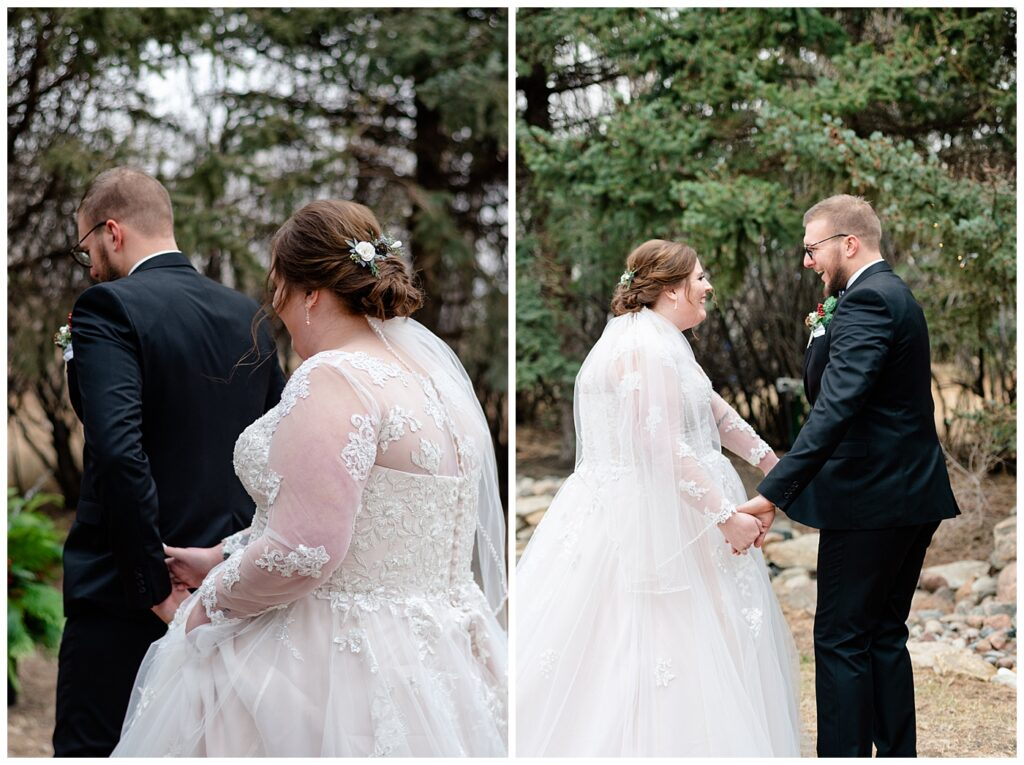Regina Wedding Photographer - Kolton - Maxine - First look - Bride reaches for grooms hand - Groom turns to see his bride