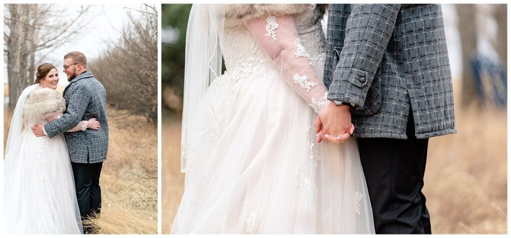Regina Wedding Photographers - Kolton - Maxine - Bride & Groom in vintage winter wear from the brides family