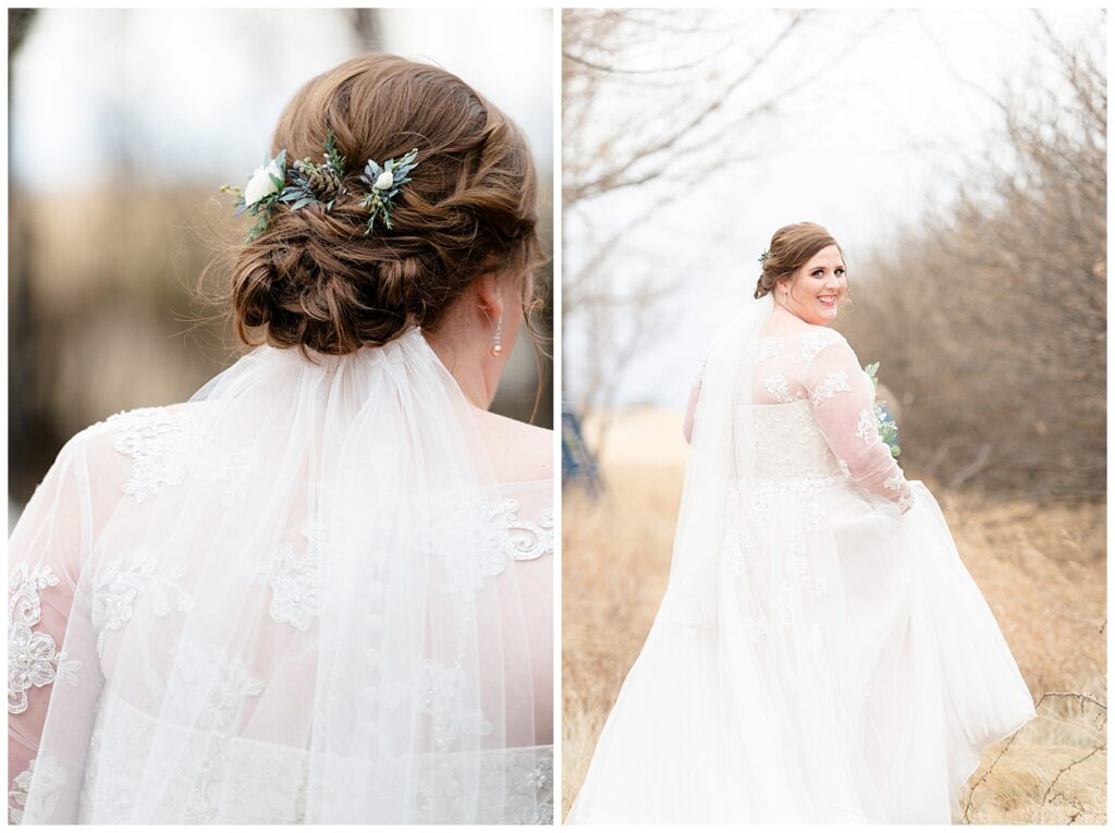 Regina Wedding Photographers - Kolton - Maxine - Bride in her Stella York gown - Hair with pinecone detail