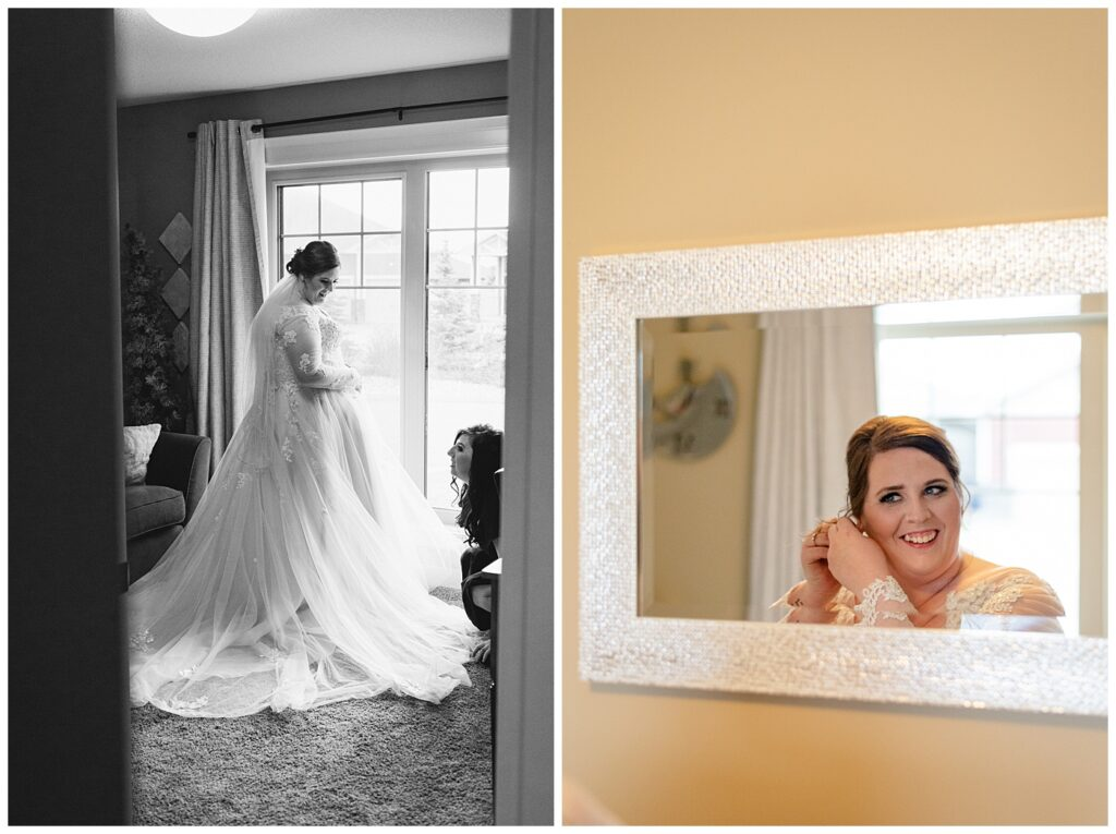 Regina Wedding Photography - Kolton - Maxine - Bride puts on her Alie & Elsie Jewelry