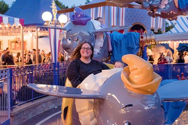 Courtney on the Dumbo ride at Disneyland