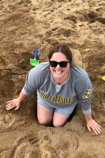 Courtney in a sandhole
