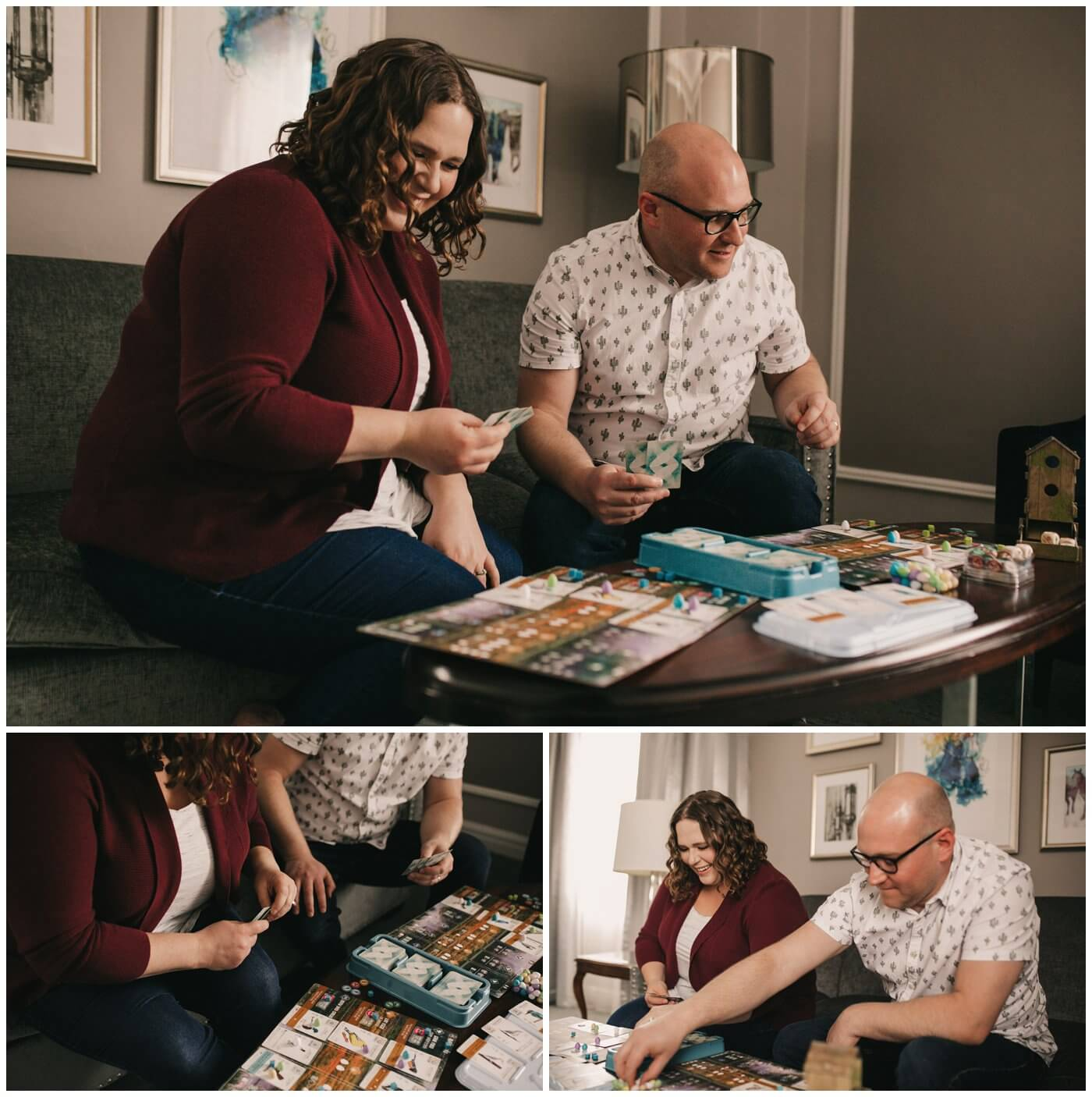 Cam & Courtney Photography - Branding Session with Starr - Playing Wingspan by Stonemaier Games