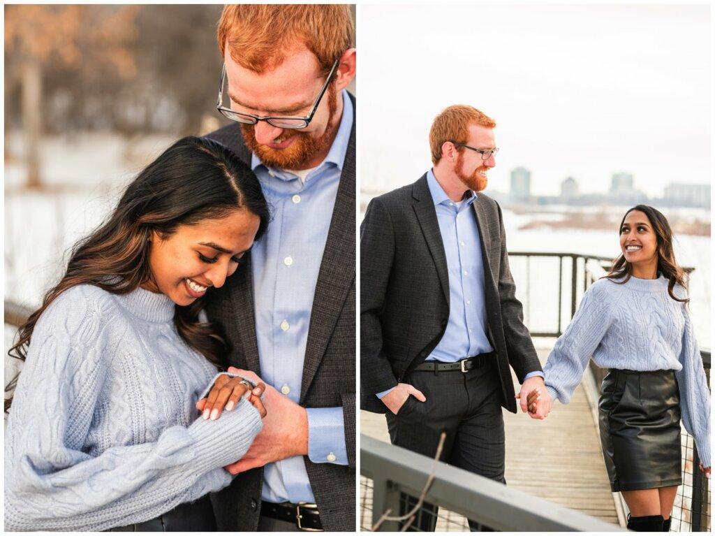Regina Engagement Photography - Stephen & Sarah - 003 - Admiring Engagement Ring