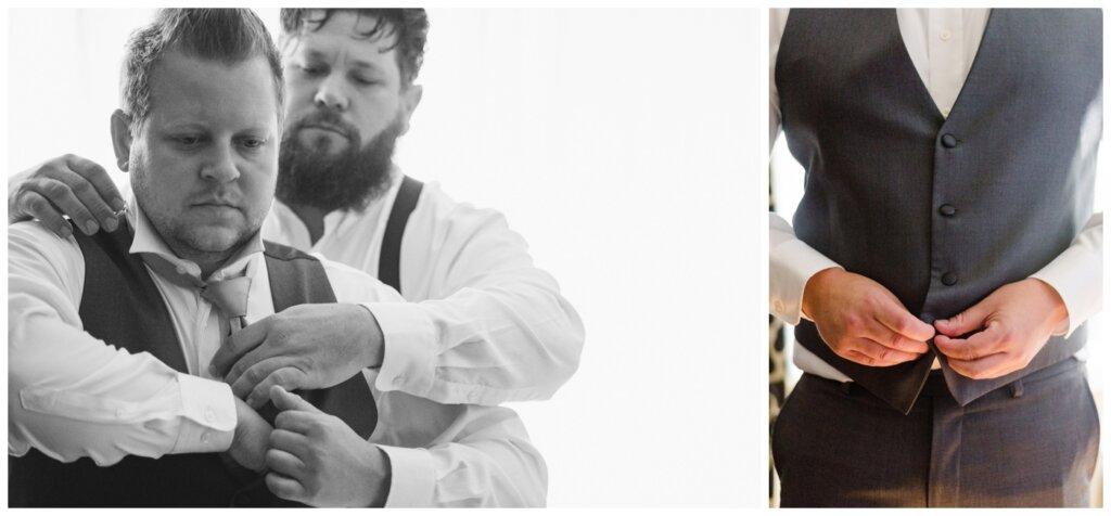 Jon & Callie - 01 - Groom getting vest on