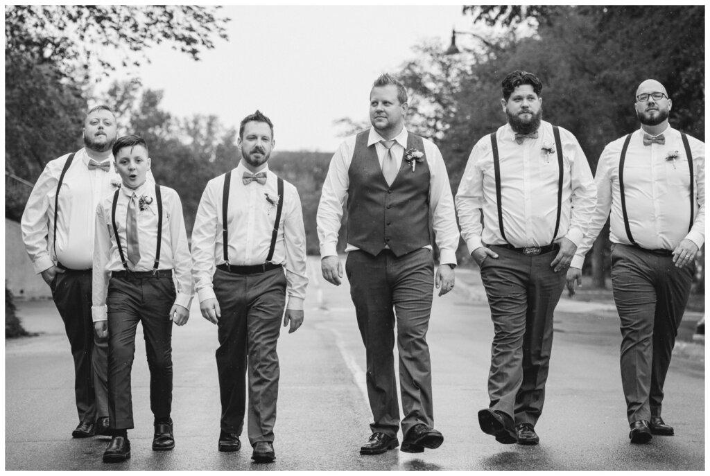Jon & Callie - 17 - Groom and groomsmen walking