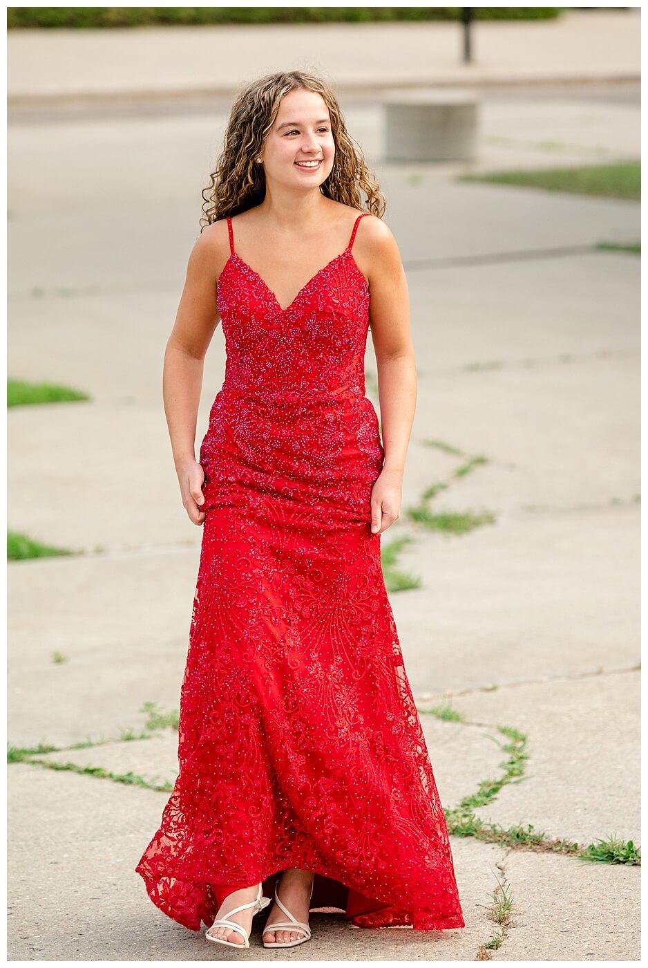 Cailey Baseden - Graduation 2021 - 01 - High school senior in red dress