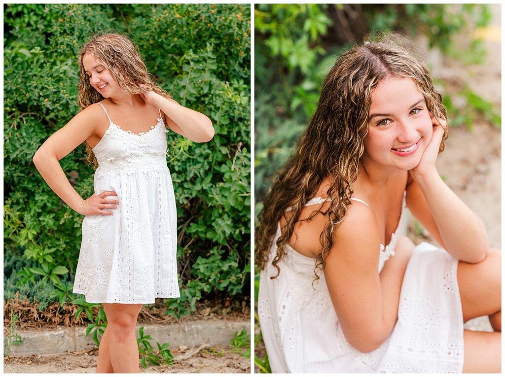 Cailey Baseden - Graduation 2021 - 10 - High school senior in white sundress