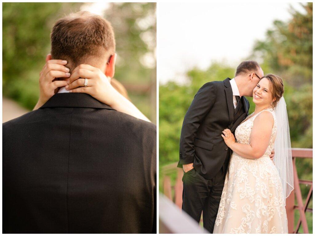 Colter & Jillyan - Encore Wedding Session - 01 - Bride & Groom on bride at AE Wilson Park Island
