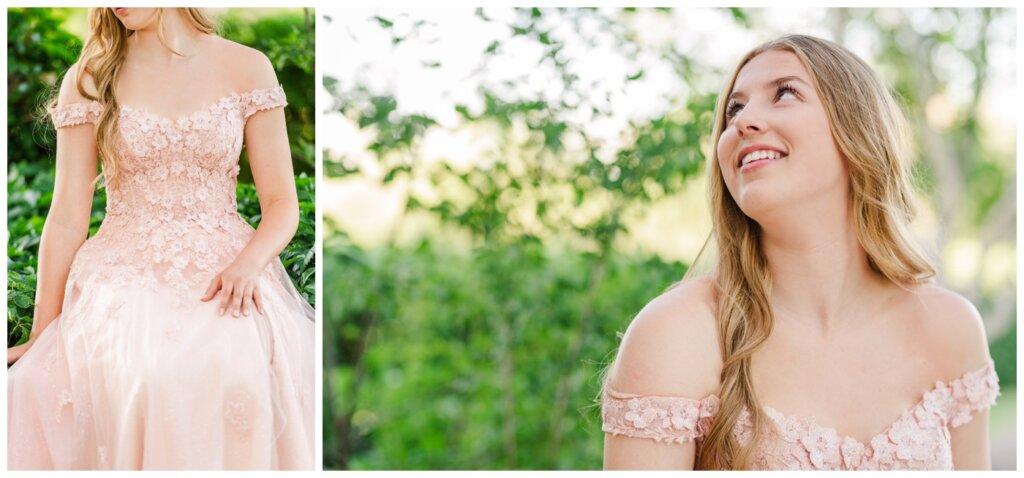 Graduate in her blush off-the-shoulder dress from NWL in Regina