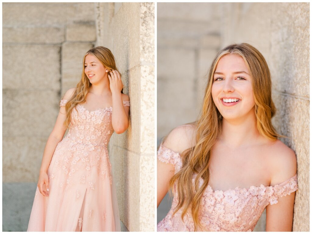 Rachel Vanderhooft - Graduation Photo Session - Graduate in her blush flowered dress shows off her matching rose gold Hillberg & Berk sparkleballs