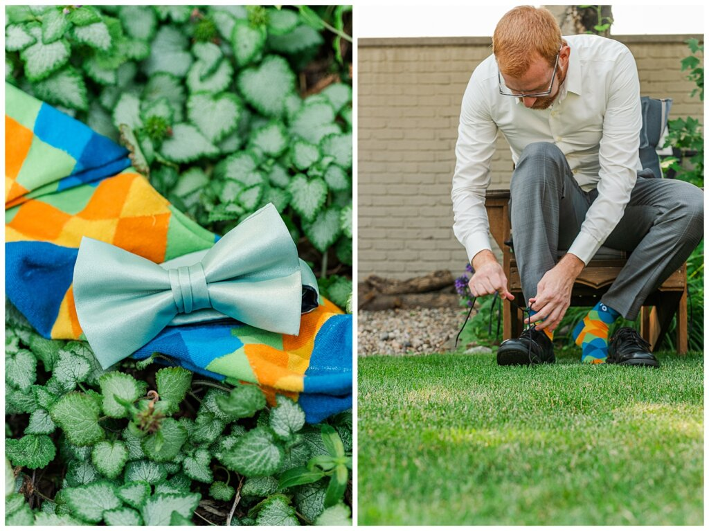 Stephen & Sarah Wedding - 01 - Moores Suit with bowtie and socks