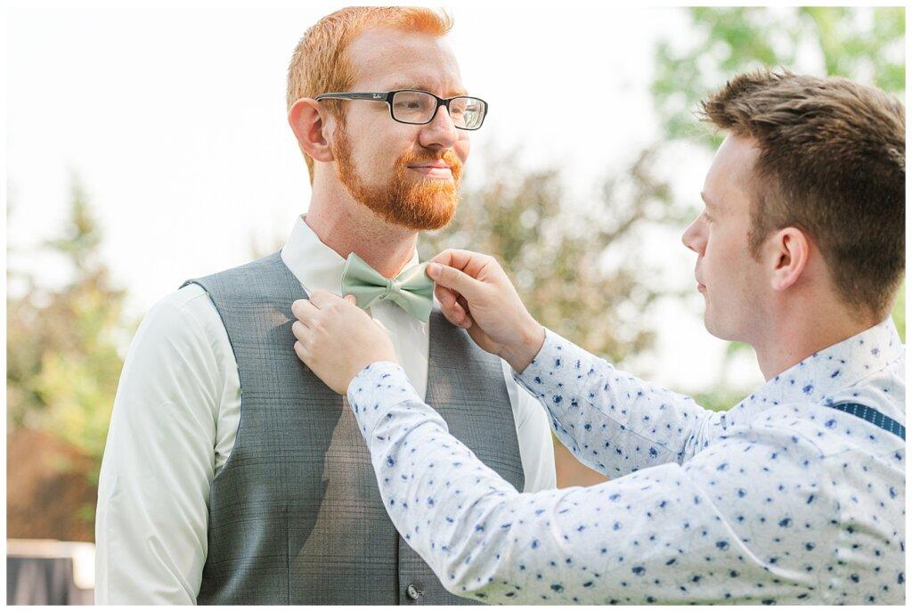 Stephen & Sarah Wedding - 02 - Timothy adjusting Stephen's Bow Tie