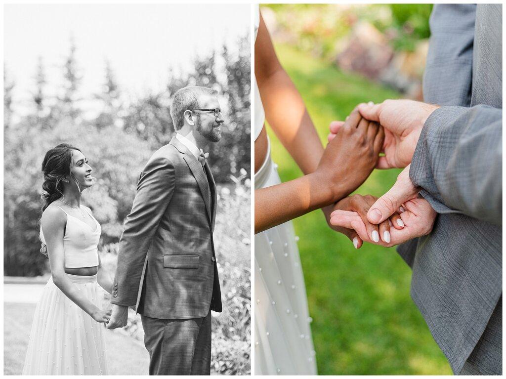 Stephen & Sarah Wedding - 08 - Bride & Groom First Touch In Backyard