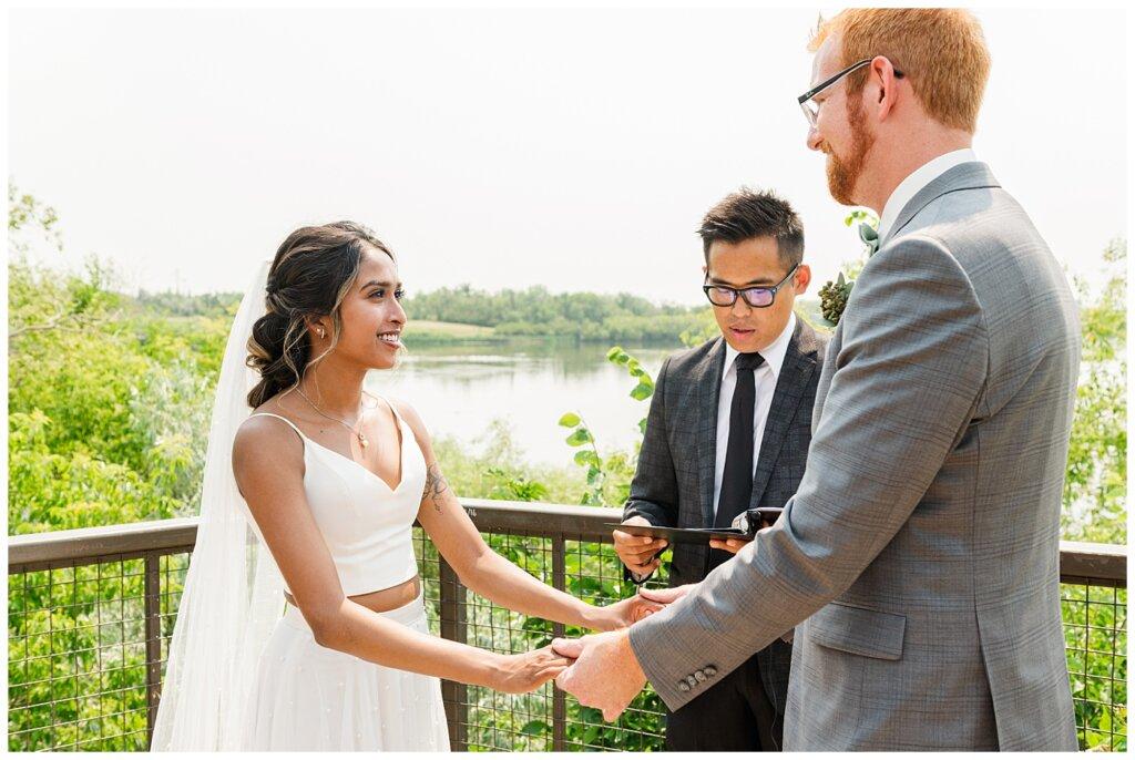 Stephen & Sarah Wedding - 10 - Bride & Groom vows at Wascana Park