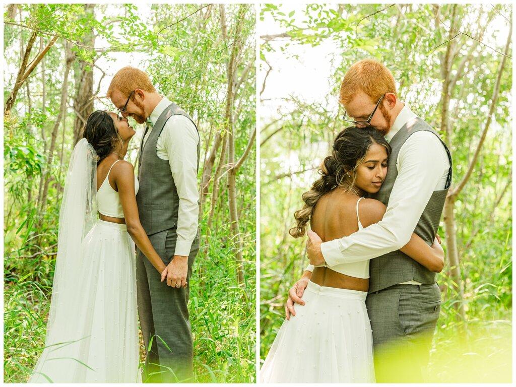 Stephen & Sarah Wedding - 12 - Stepehen & Sarah cuddling and kissing in Wascana trees