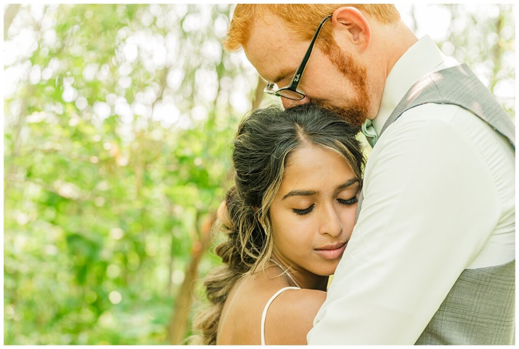 Stephen & Sarah Wedding - 13 - Close-up of bride on groom's chest