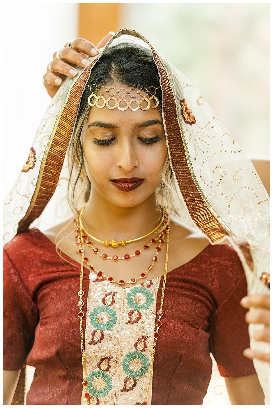 Stephen & Sarah Wedding - 22 - Bride changing into her traditional Lehenga (Sari)