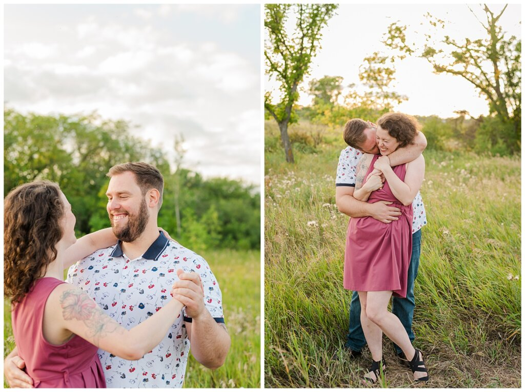 Mitch & Val - Engagement Session in Wascana Habitat Conservation Area - 02 - Couple dancing and nibbling into neck