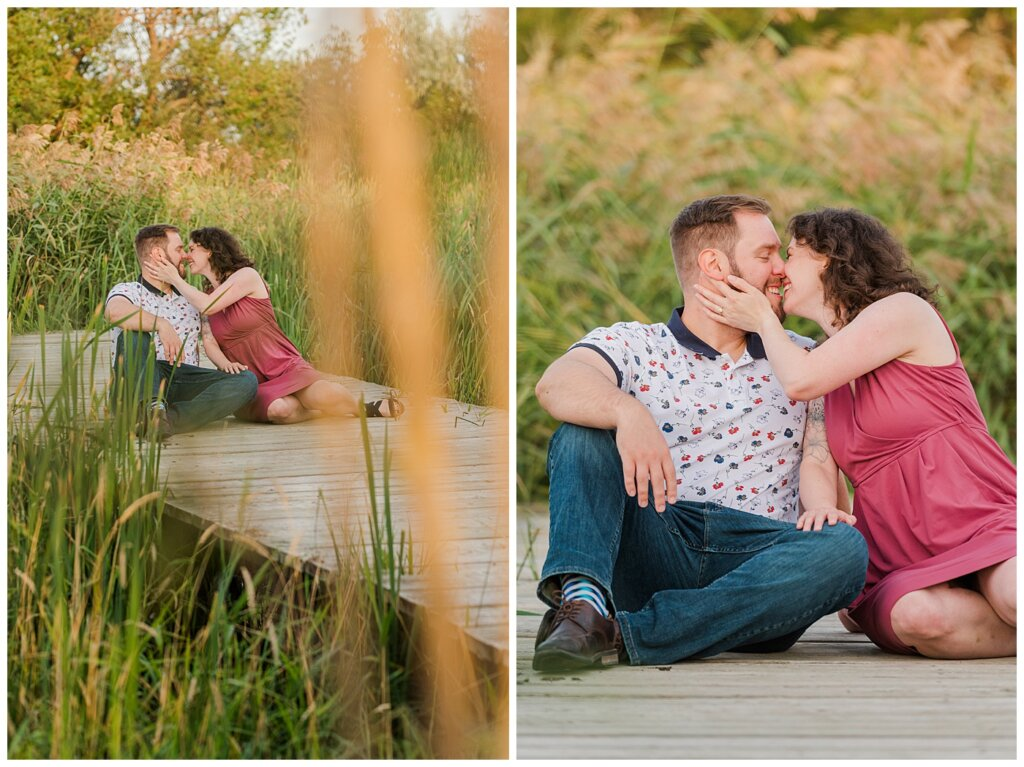 Mitch & Val - Engagement Session in Wascana Habitat Conservation Area - 05 - Couple sitting on a dock kissing