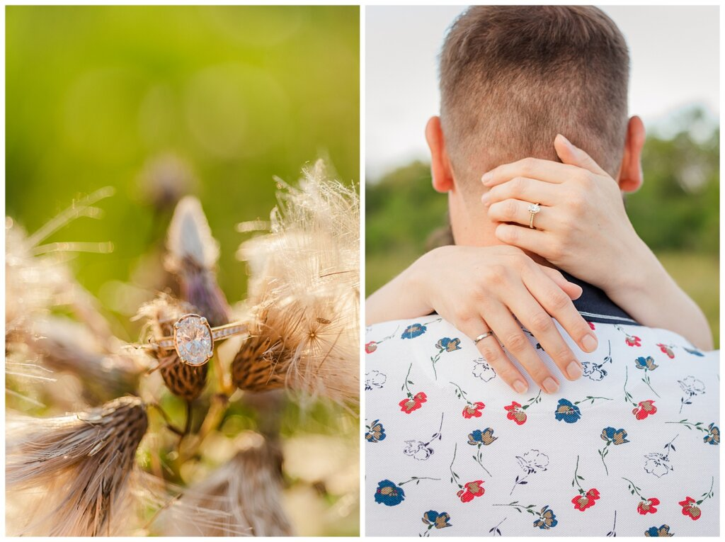 Mitch & Val - Engagement Session in Wascana Habitat Conservation Area - 06 - Engagement Ring on Woman's hand