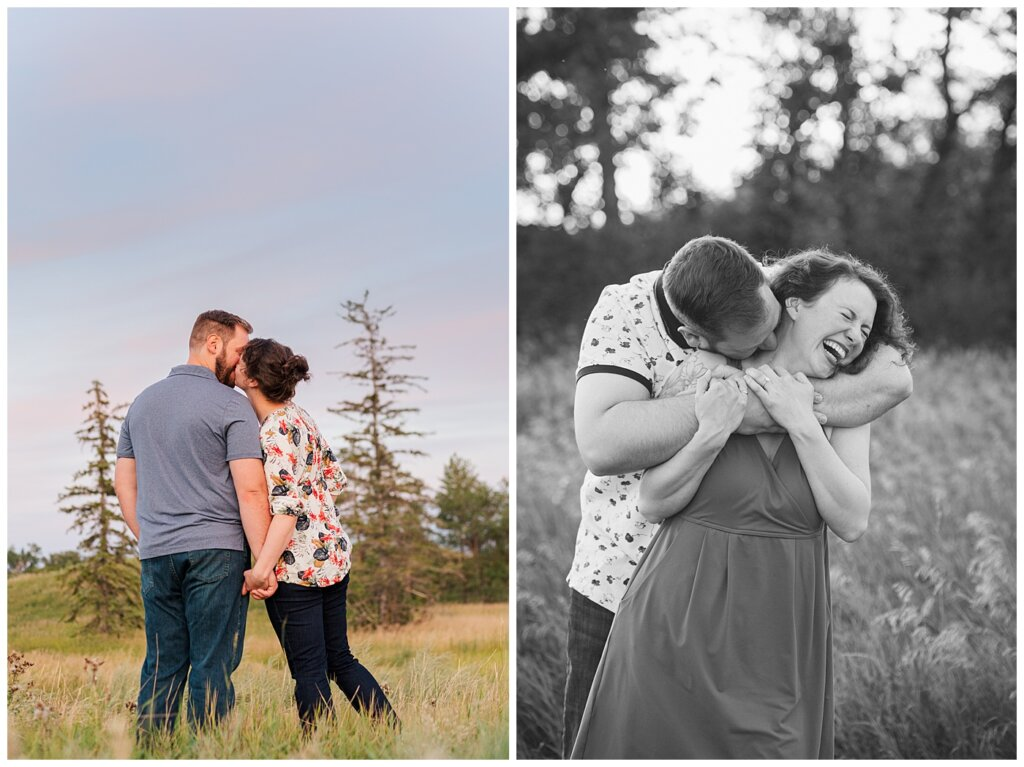 Mitch & Val - Engagement Session in Wascana Habitat Conservation Area - 12 - Couple kissing and laughing
