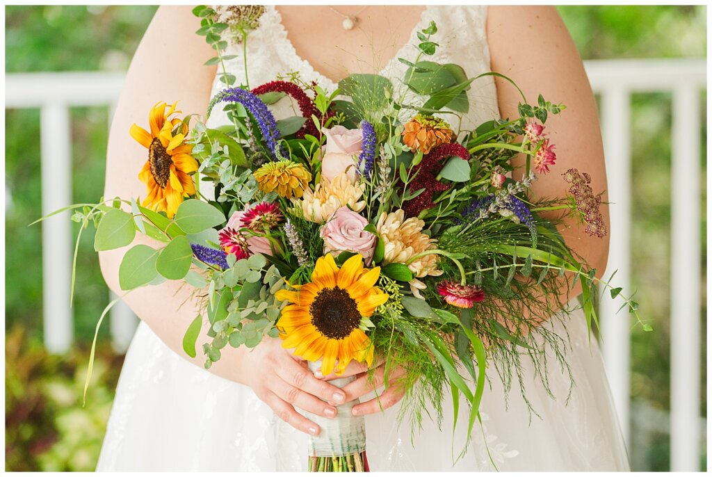 Sheldon & Amy - Besant Campground Wedding - 05 - Summer bridal bouquet from Ellen's on Main Moose Jaw