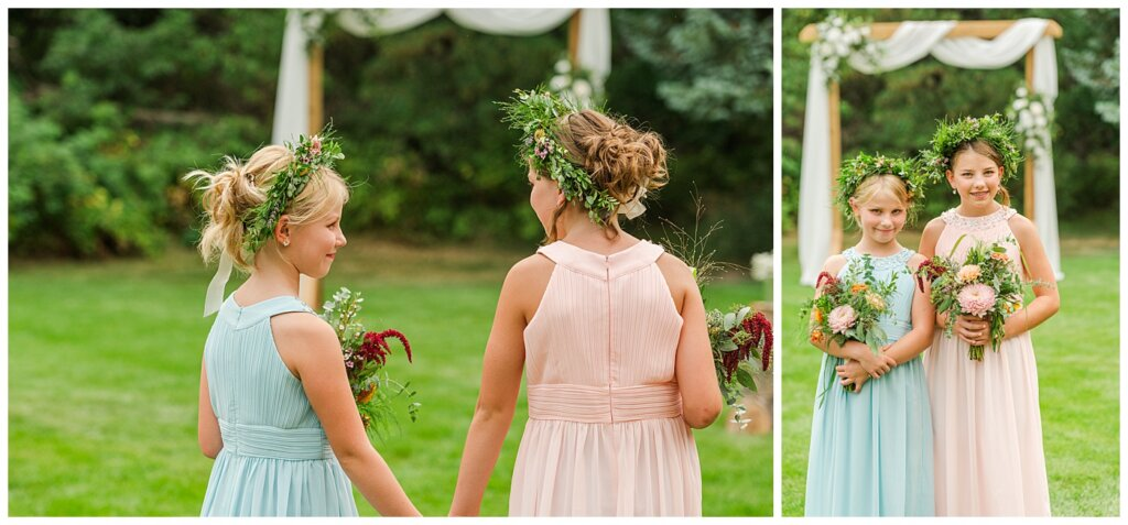 Sheldon & Amy - Besant Campground Wedding - 12 - Junior Bridesmaids in Flower Crowns from Ellen's on Main in Moose Jaw