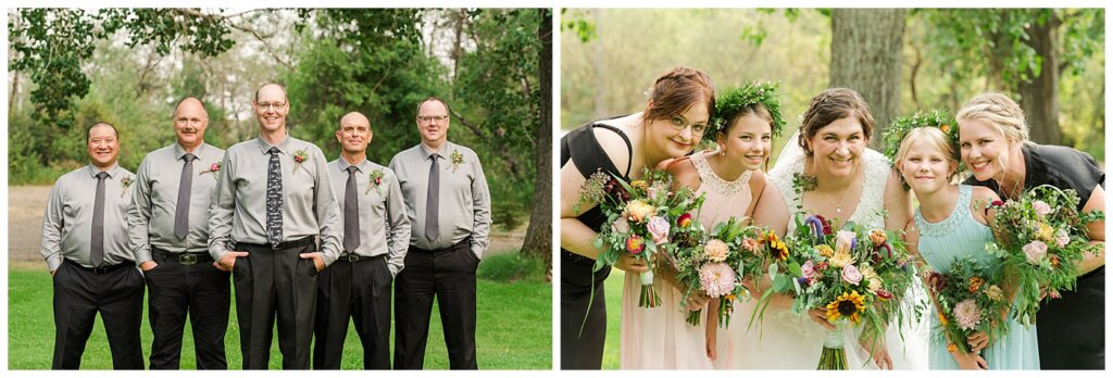 Sheldon & Amy - Besant Campground Wedding - 14 - Groom with Groomsmen - Bride with Bridesmaids