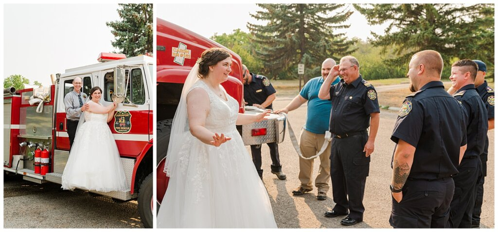 Sheldon & Amy - Besant Campground Wedding - 21 - Bride with Caronport Volunteer Fire Department