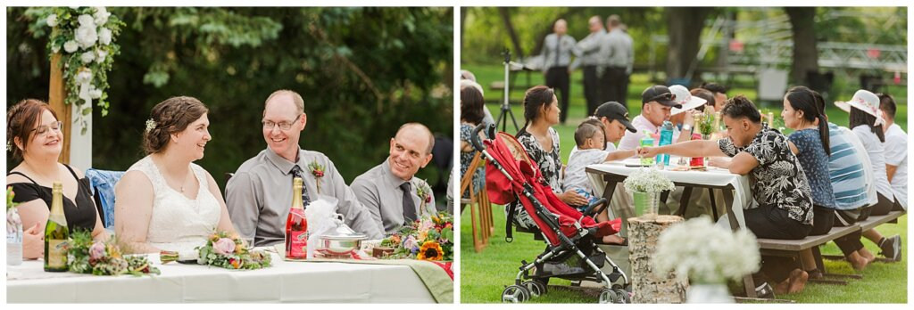 Sheldon & Amy - Besant Campground Wedding - 23 - Picnic style reception