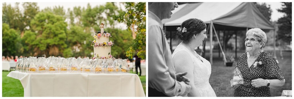 Sheldon & Amy - Besant Campground Wedding - 25 - Bride & Groom hand out cupcakes