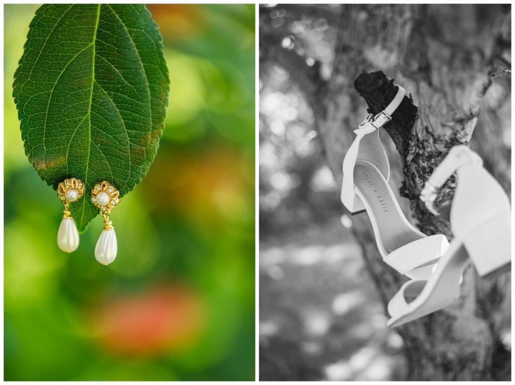 Taylor & Jolene - Emerald Park Wedding - 01 - Bridal Earrings and shoes
