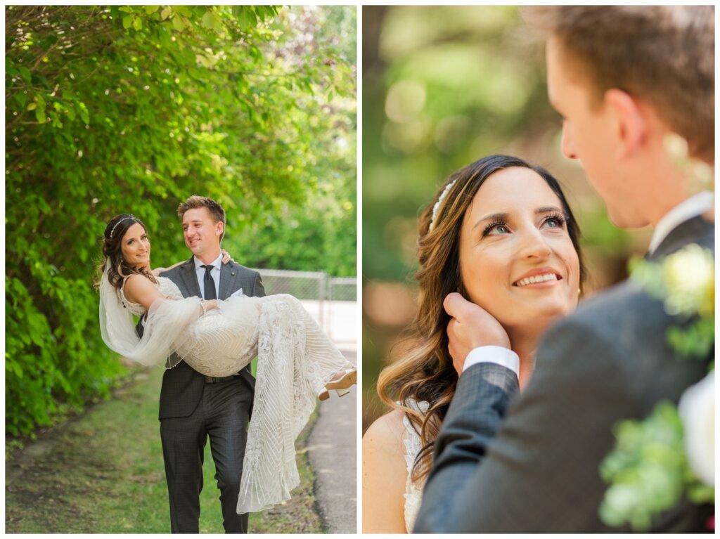 Taylor & Jolene - Emerald Park Wedding - 08 - Groom sweeps his Bride off her feet
